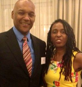 Actor Colin Salmon and orchestra director Mary Genis at the Dorchester Hotel August 2014