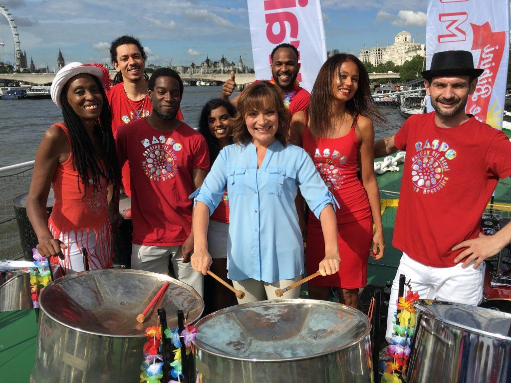 ITVs Lorraine Kelly with RASPO Steel Orchestra