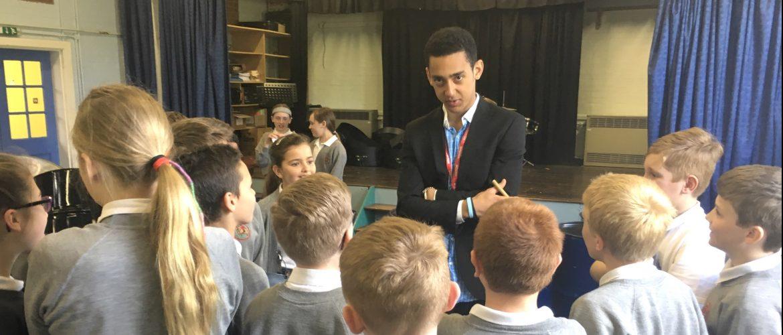 Aynsley teaching steel pan at Lambourn 2016