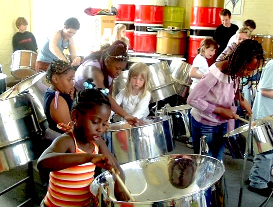 Central Club steel band workshop with CultureMix 1997