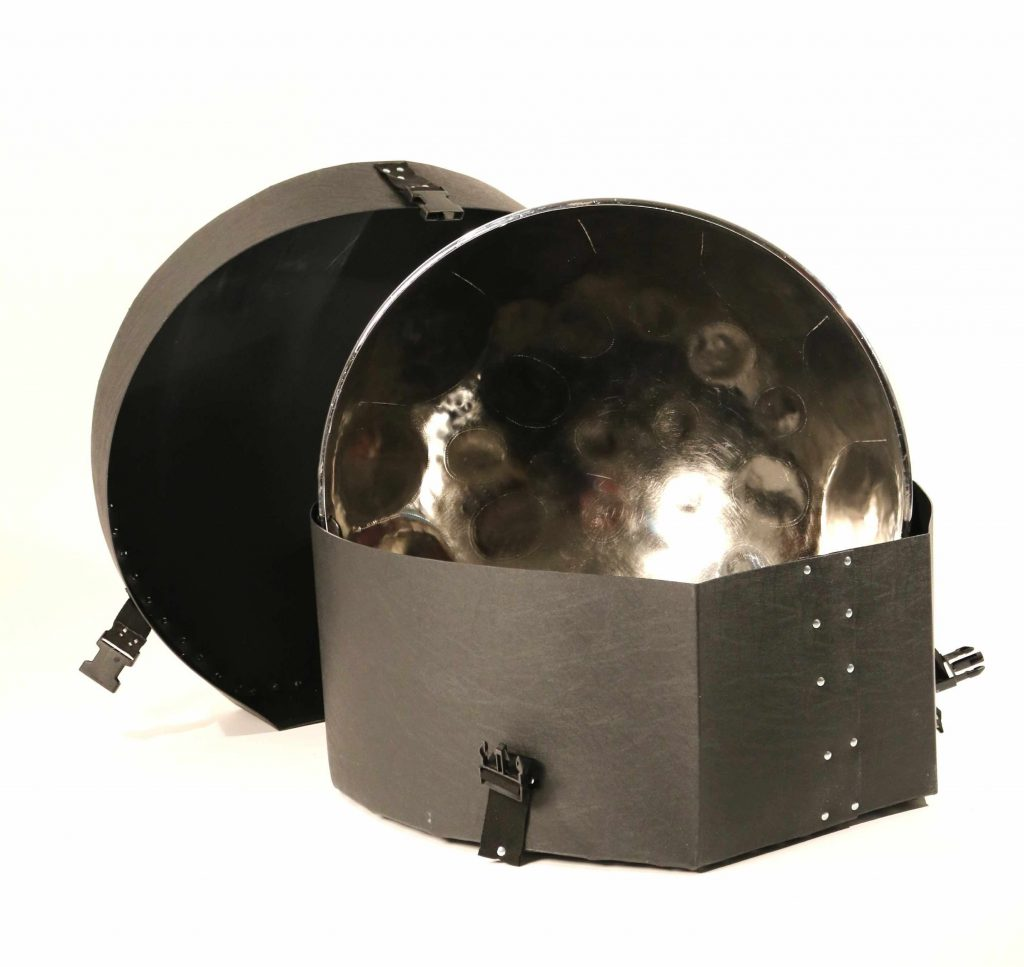 Steel pan drum in chrome with hard case in polypropylene by CultureMix Arts Ltd