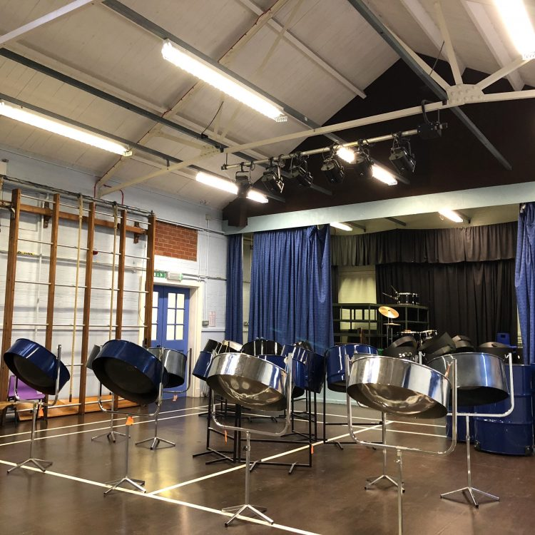 CultureMix Steel Drum Pan Set in school hall
