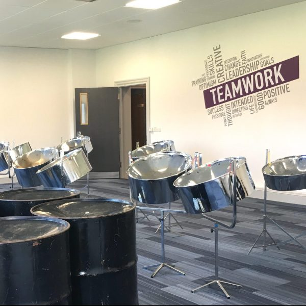CultureMix steel band team building workshops steel pan drums laid out