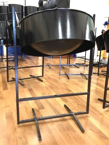 Black H-stand and steel pan drum by CultureMix Arts Ltd