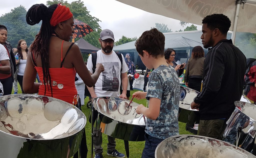 CultureMix steel pan music workshop with Reading All Steel Percussion Orchestra