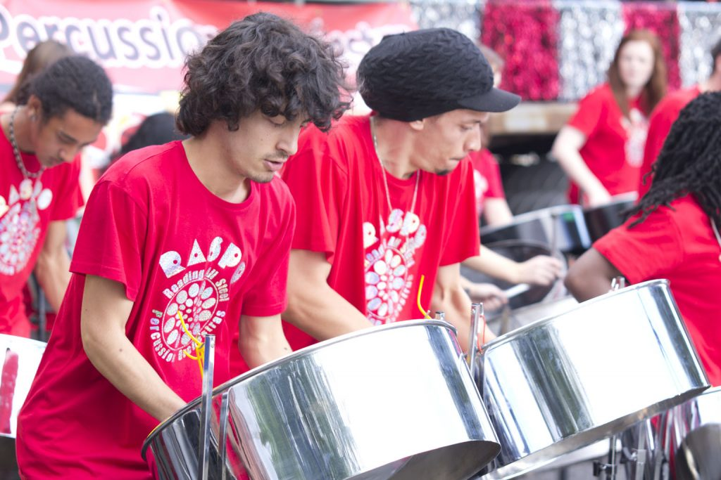 RASPO Steel Orchestra perform at the London Notting Hill Carnival National Steel Band Championships known as Panorama