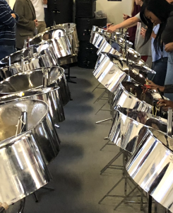 Steel pans chromed musical instruments for Reading All Steel Percussion Orchestra by CultureMix