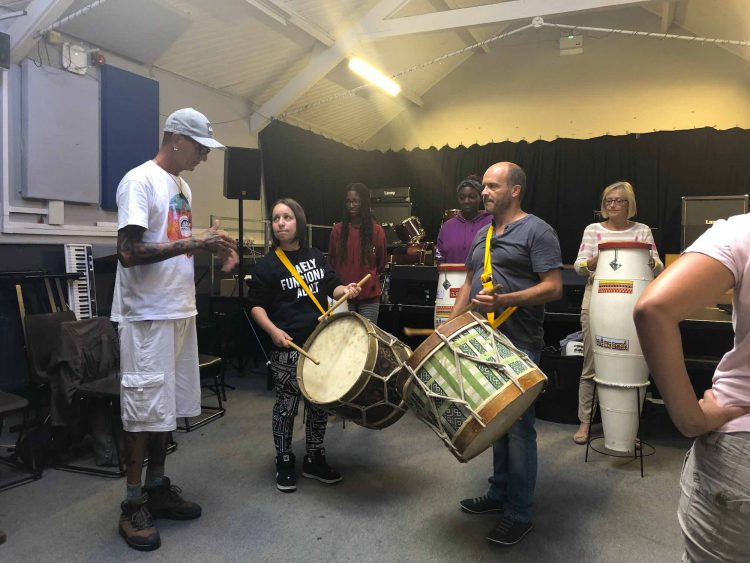 Carnival of the World Afoxe Afro Brazilian Percussion workshop with Yle de Egba image by CultureMix Arts