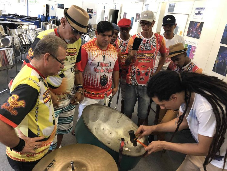 Carnival of the World how to tune steel pan workshop by Paul Jr Watson with Yle de Egba image by CultureMix Arts