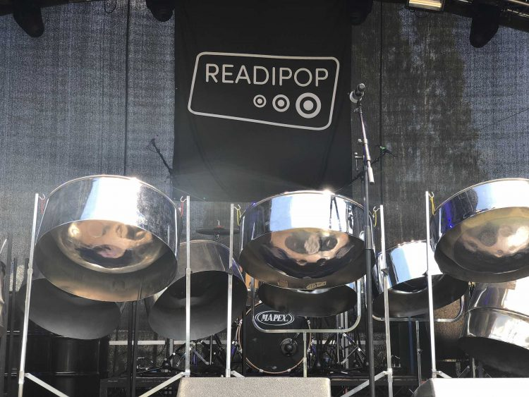 RASPO steel pan set up on main stage at Readipop Festival 2018