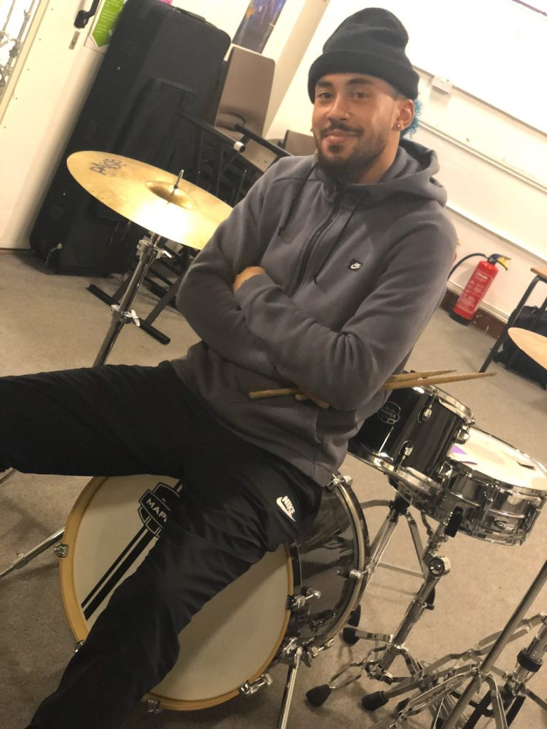 Jamah Lynam drum lesson tutor for RASPO Steel Orchestra and CultureMix Arts Ltd