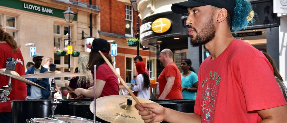 Jamah Lynam drummer with RASPO and drum lesson tutor for CultureMix Arts image by Dave Cole