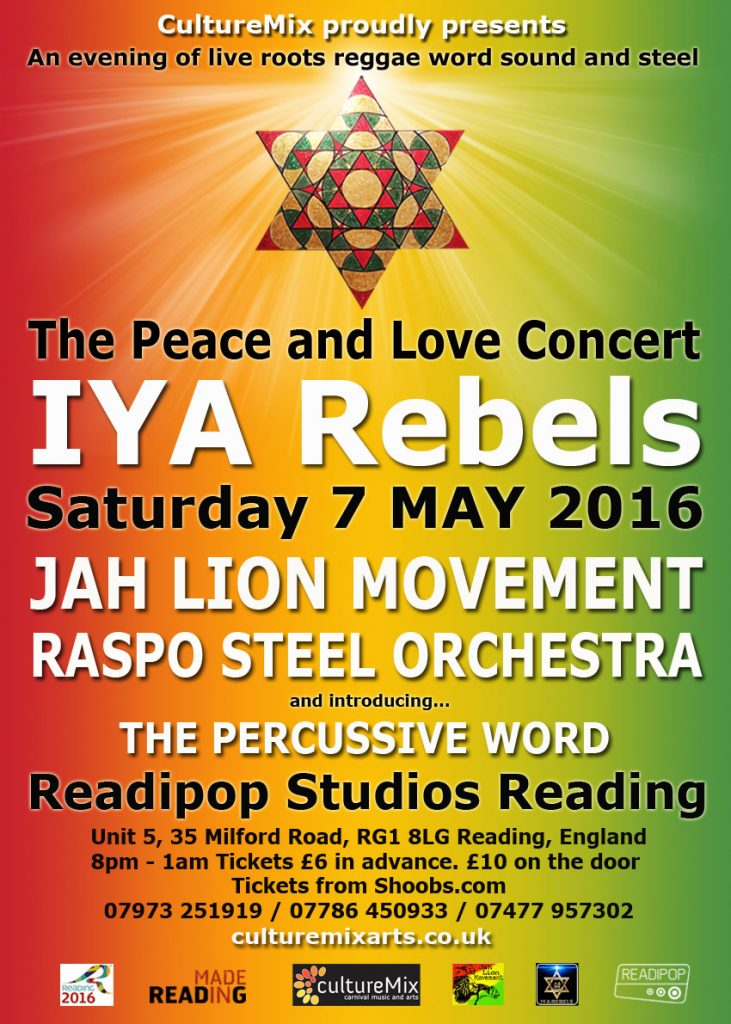 Skully Roots fromPeace and Love Concert flyer May 2016 featuring IYA Rebels, Jah Lion Collective Sound System and RASPO Steel Orchestra at the CultureMix Peace and Love Concert 2016