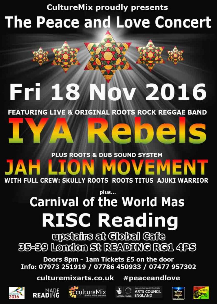 Peace and Love CultureMix flyer 2016 featuring IYA Rebels, Jah Lion Sound at RISC