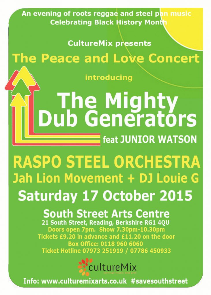 Peace and Love Concert 2015 flyer featuring The Mighty Dub Generators at South Street Arts Centre