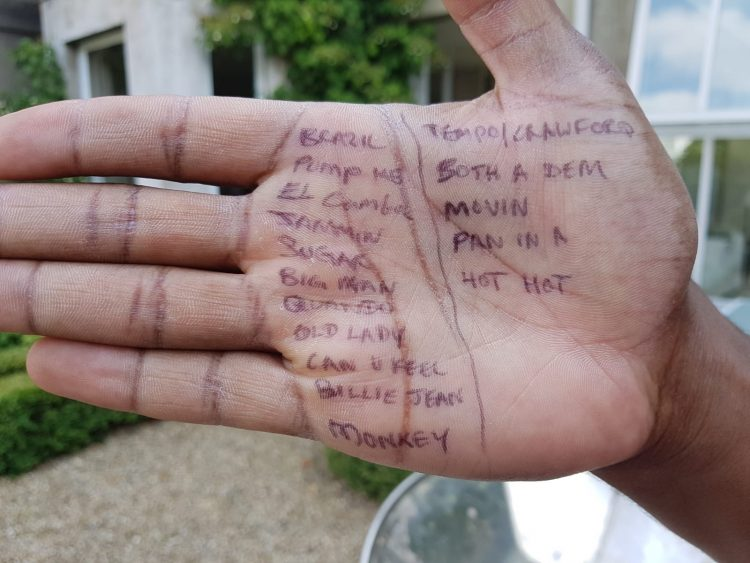 Dani Richardson RIP - RASPO set list written on palm of hand for CultureMix Arts booking.