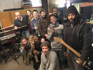 Junior Watson with Don Chandler and session musicians in BBMC Recording Studio Willesden- image by Mary Genis