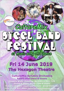CultureMix Steel Band Festival featuring 100 children in a steel percussion orchestra at The Hexagon 14 June 2019