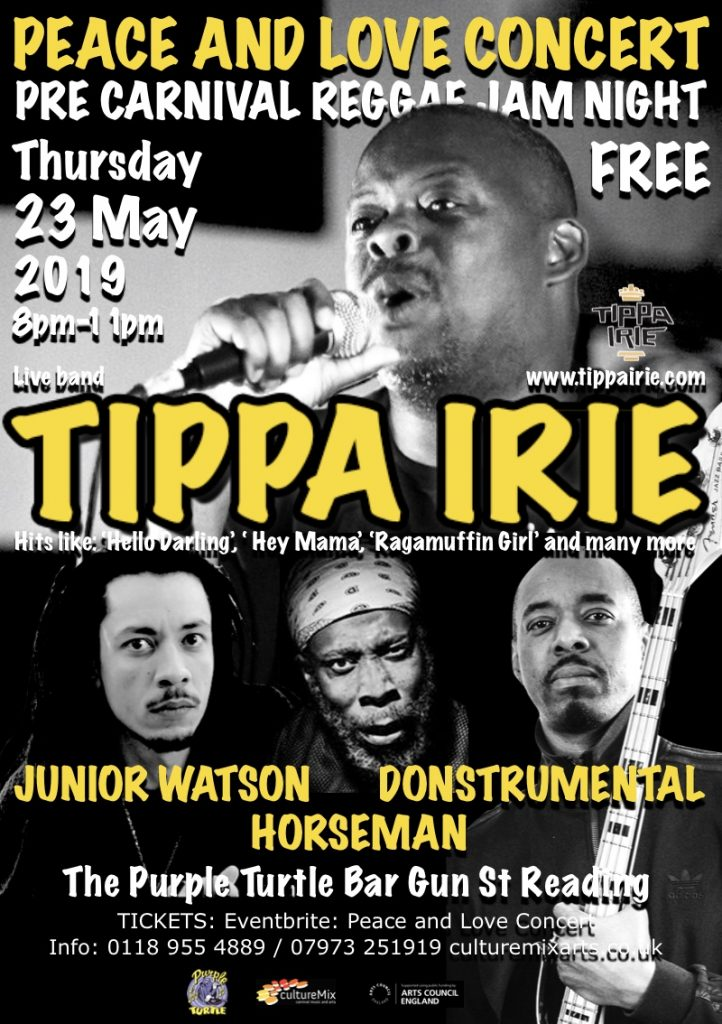 CultureMix Arts presents the Peace and Love Concert featuring Tippa Irie, Horseman, Donstrumental Dubs and the new EP from rising reggae star Junior Watson