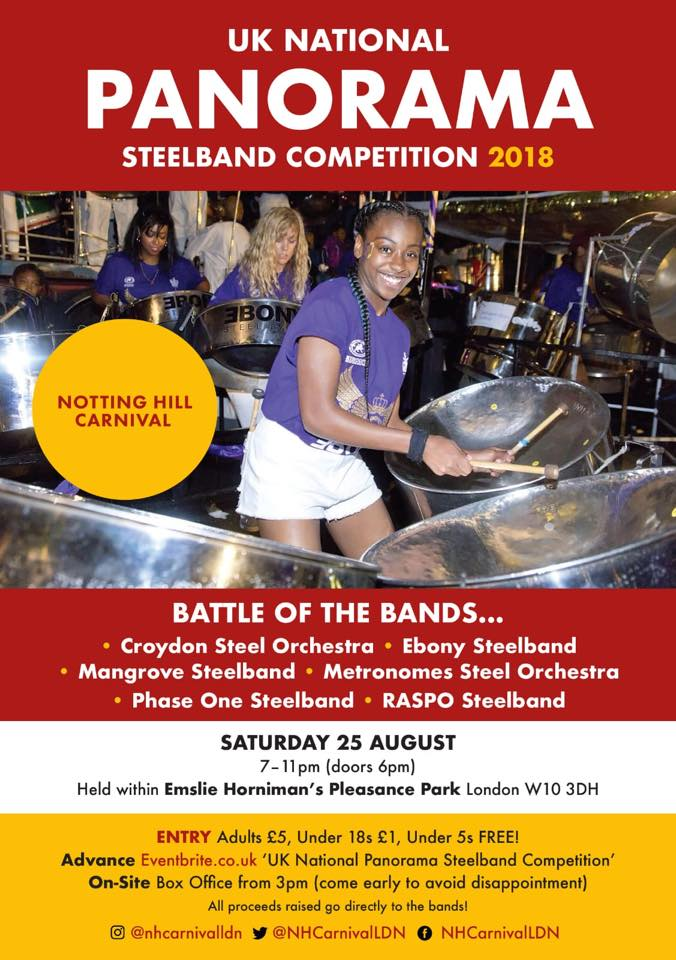 British Association of Steelbands poster for the London Notting Hill Carnival National UK Steel Band Championships 2018
