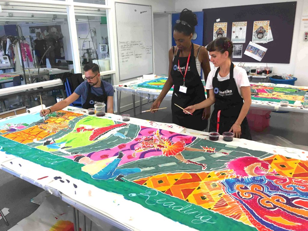 Kinetika silk flag making workshops in Reading UK for CultureMix Carnival of the World 2016
