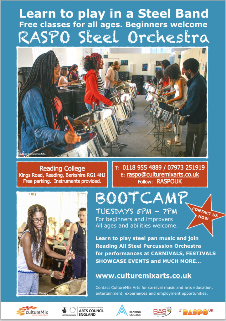 RASPO Bootcamp for Beginners steel pan music workshops at Reading College - flyer