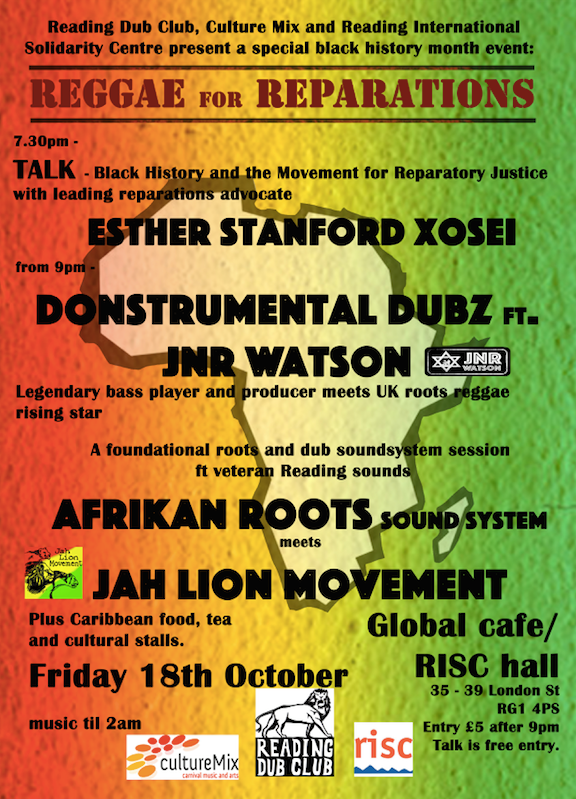 Reggae for Reparations flyer October 2019 RISC Reading UK