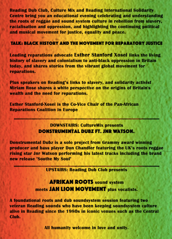 Reggae for Reparations flyer back October 2019 RISC Reading UK