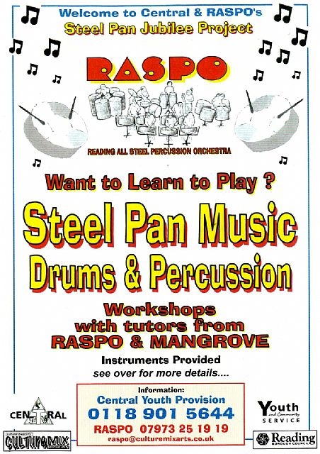 The poster is for RASPO Steel Band music classes at Central Club in Reading