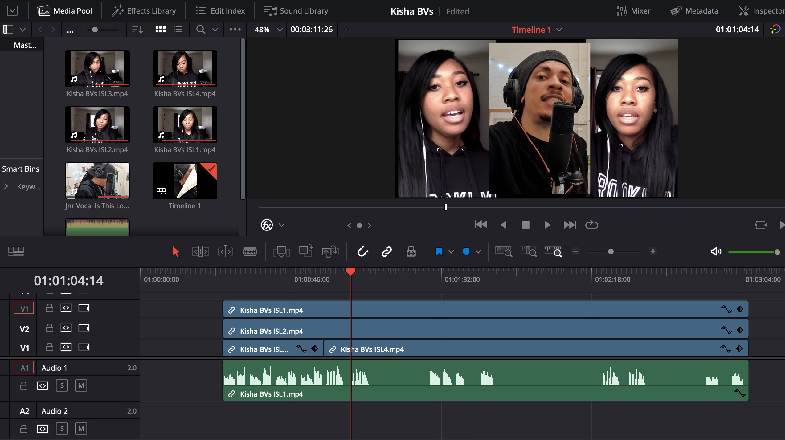 DaVinci Resolve screen shot of Distant Mix edit by CultureMix Production Department