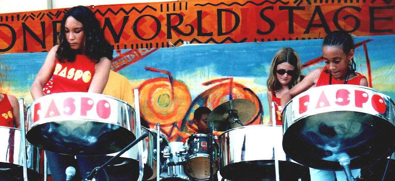 RASPO open the One World Stage at 2003 WOMAD in Reading UK