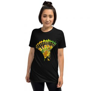 An exclusive carnival design t-shirt by Anisha Thomas. This staple unisex Dani t-shirt comes in black heavier cotton that is soft and comfy for a slightly longer fit.