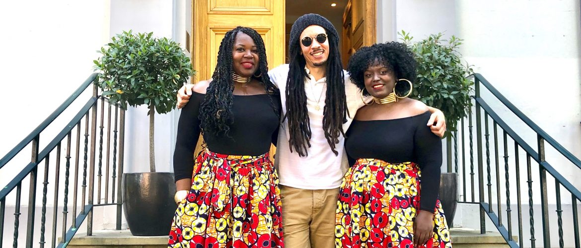 Jnr Watson with backing vocalists Ailson Campbell and Harmonie Deja at Abbey Road Studios for Virtual Notting Hill Carnival 2020