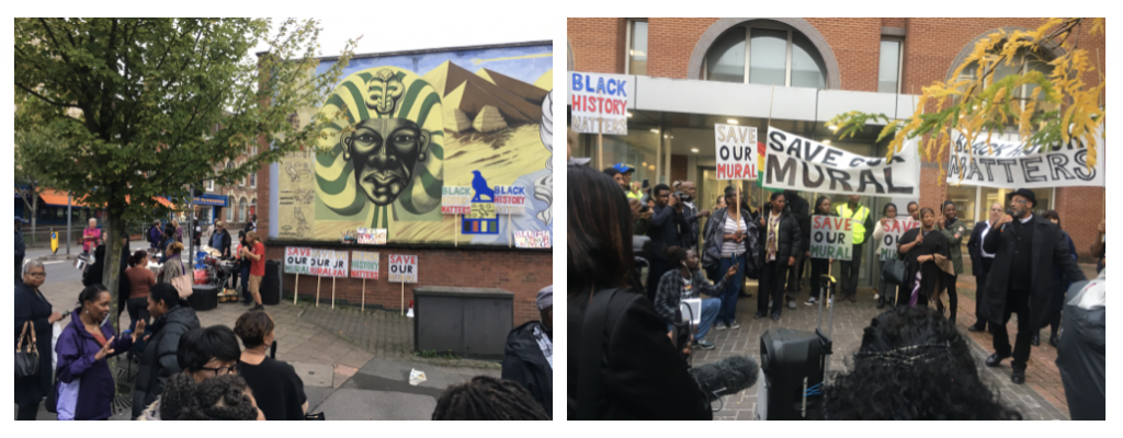 Reading Black History Mural protest rally with speeches from artist Alan Howard 2017