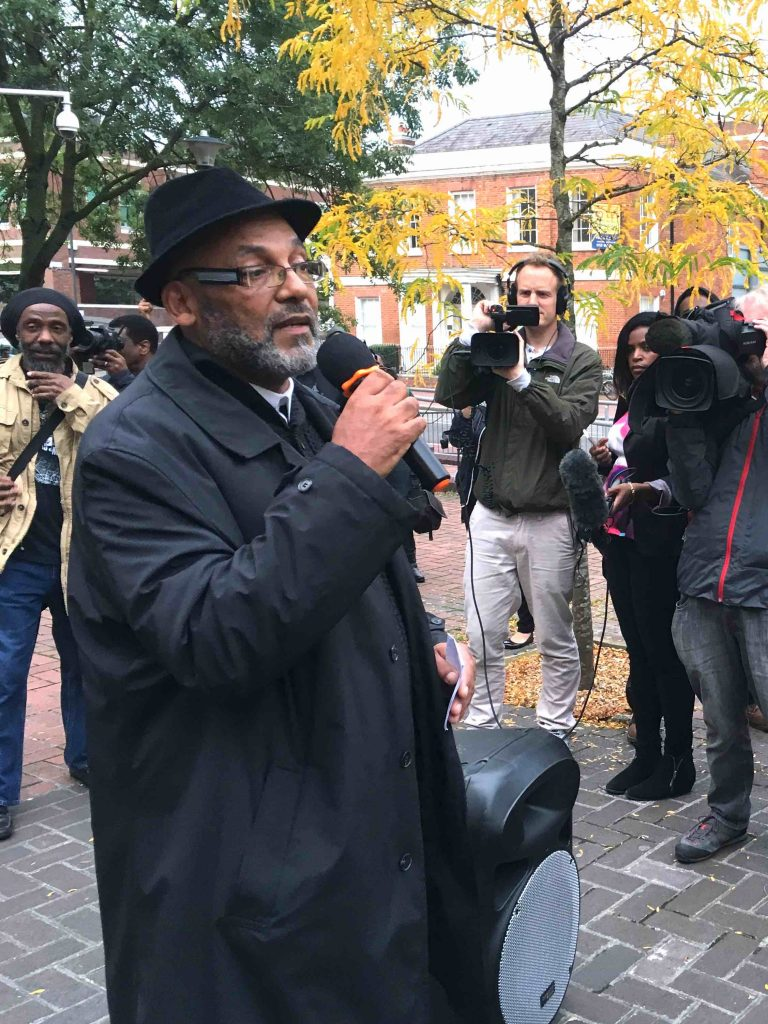 Alan Howard Central Mural artist talks at the Save Our Mural march in Reading UK September 2017 image by Mary Genis