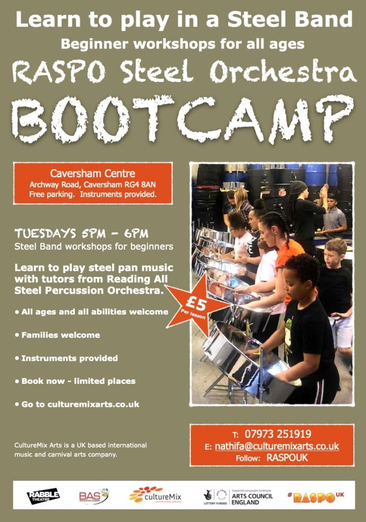 RASPO Bootcamp flyer - steel band music workshops Sep2020