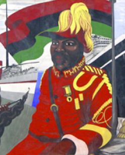 Central Club Black History Mural detail Marcus Garvey in Reading UK image by Mary Genis