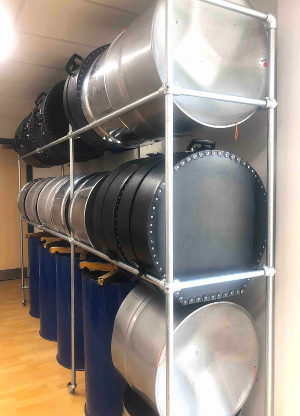 CultureMix mobile racking storage for steel pans