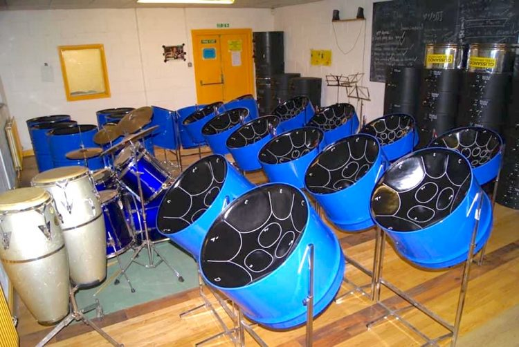 Starter set of steel pans in blue made for CultureMix - image by Joseph Khell